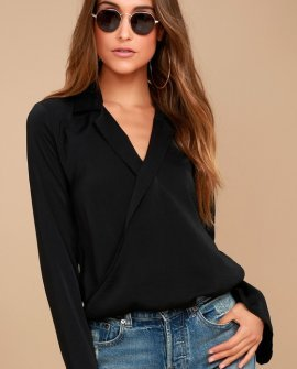 Down to Business Black Long Sleeve Wrap Top
