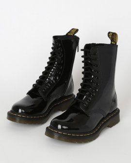 Dr Martens 1490 Black Patent Lamper Leather High Heel Boots
