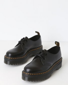 Dr. Martens Holly Black Buttero Leather Platform Ankle High Heel Boots