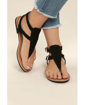 Draya Black Suede Flat Sandals