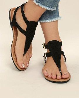 Draya Black Suede Flat Sandals