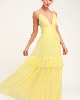 Dream About Me Pale Yellow Lace Maxi Dress