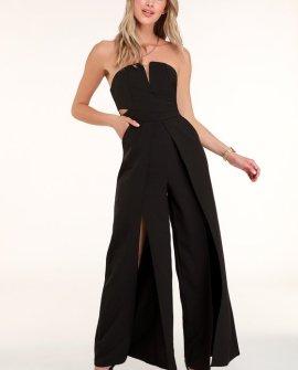 Dream It Black Strapless Cutout Jumpsuit