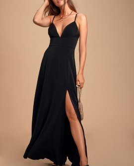 Dreaming of Love Black Satin Maxi Dress