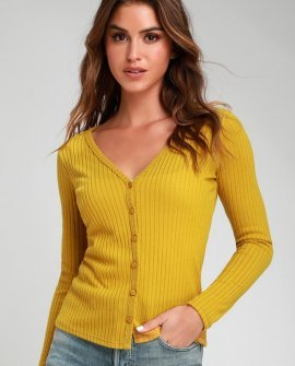 Dreams of You Mustard Knit Button-Up Long Sleeve Sweater Top