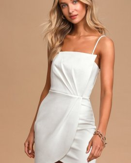 Drinks On Me White Sleeveless Pleated Bodycon Dress