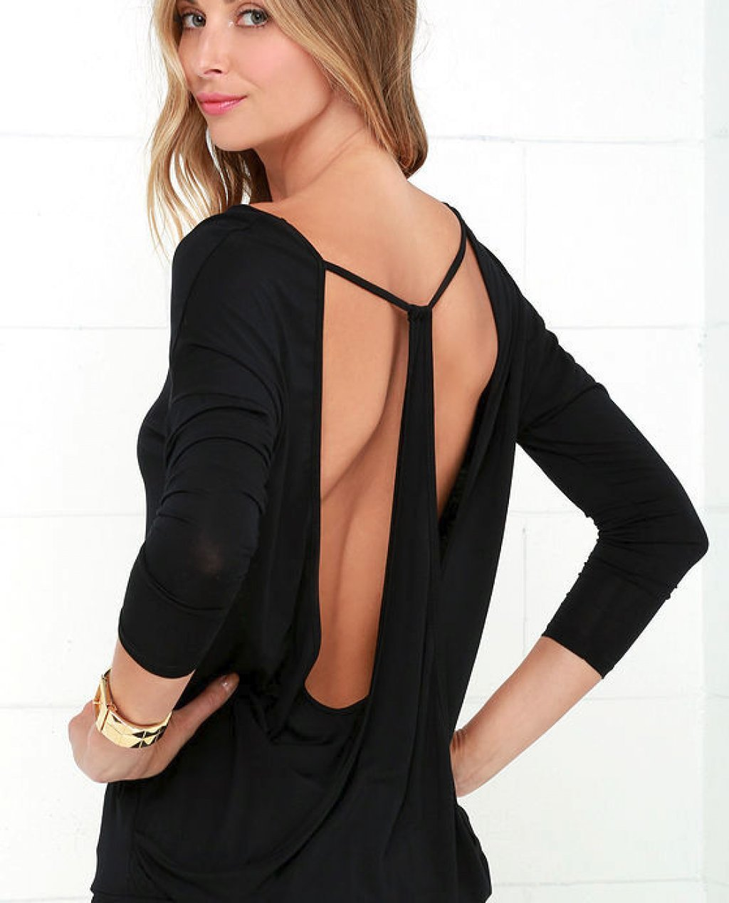 Drop It Low Black Long Sleeve Top