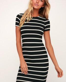 Drop Me a Line Black and White Striped Bodycon Dress