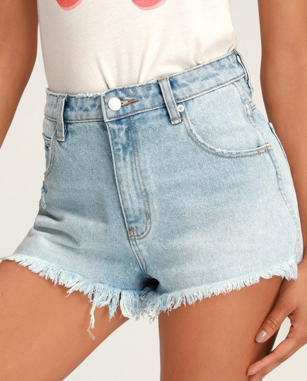 Dusters Light Wash High Waisted Distressed Denim Cutoff Shorts