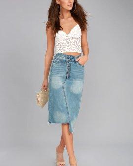 EVIDNT Darling Medium Wash Cutoff Denim Midi Skirt
