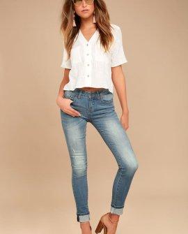 EVIDNT Solana Medium Wash Distressed Skinny Jeans