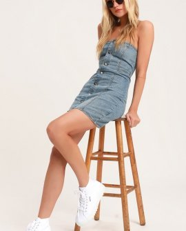 Easy Does It Light Wash Denim Strapless Mini Dress