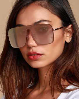Edgemont Rose Gold Mirrored Aviator Sunglasses