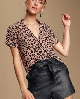 Edie Blush Pink Cheetah Print Button-Up Top