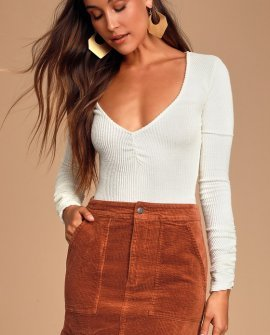 Edinburgh Rust Brown Corduroy Skirt