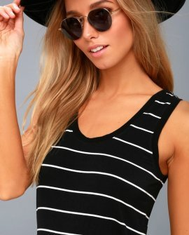 Eisha Black and White Striped Tank Top