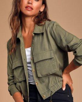 Eldora Olive Green Cropped Utility Jacket