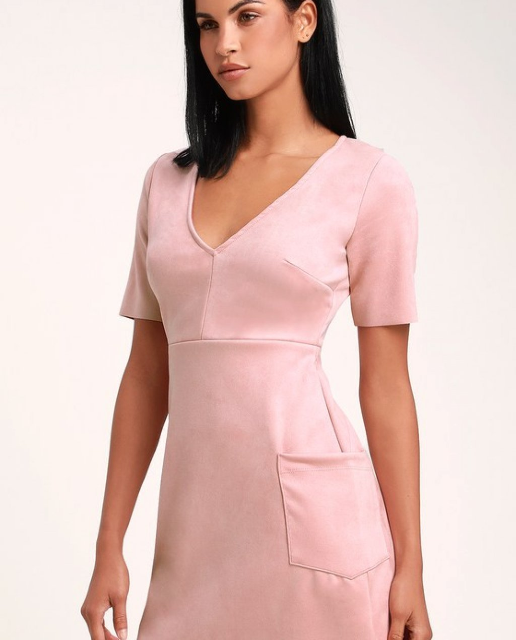 Elevate You Dusty Rose Suede Short Sleeve Mini Dress