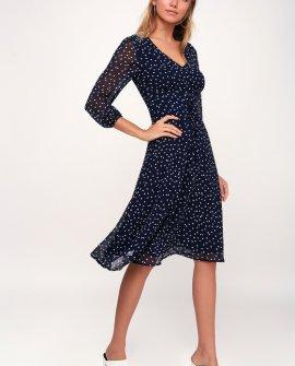 Elicia Navy Blue Polka Dot Long Sleeve Midi Dress