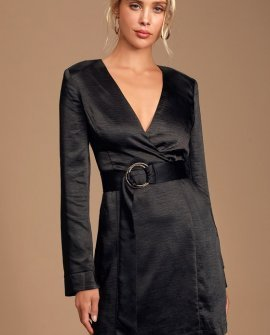 Elisha Black Satin Long Sleeve Belted Mini Dress