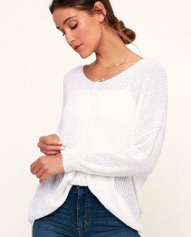 Eloise Ivory V-Neck Loose Knit Sweater