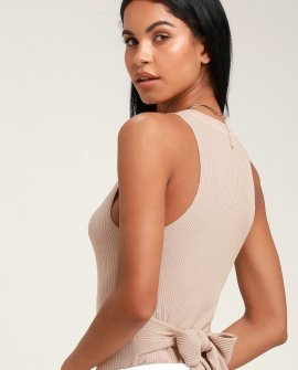 Elsen Beige Ribbed Tie-Front Tank Top