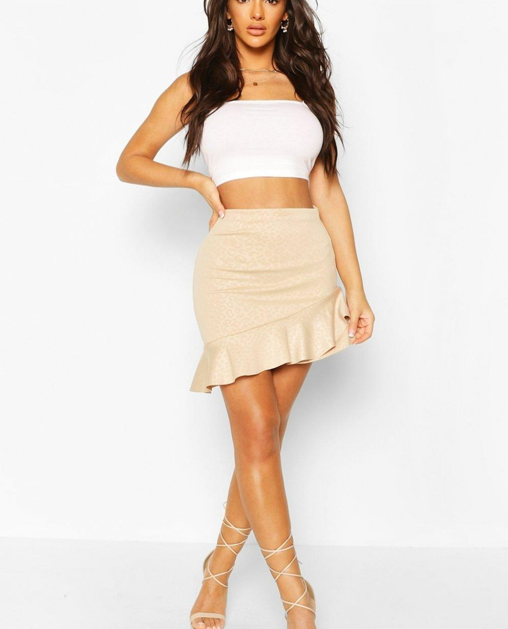 Embossed Animal Ruffle Hem Mini Skirt