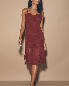 Encantado Wine Red Ruched Lace Midi Dress