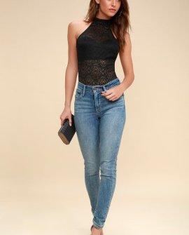 Encanto Black Sheer Lace Halter Bodysuit