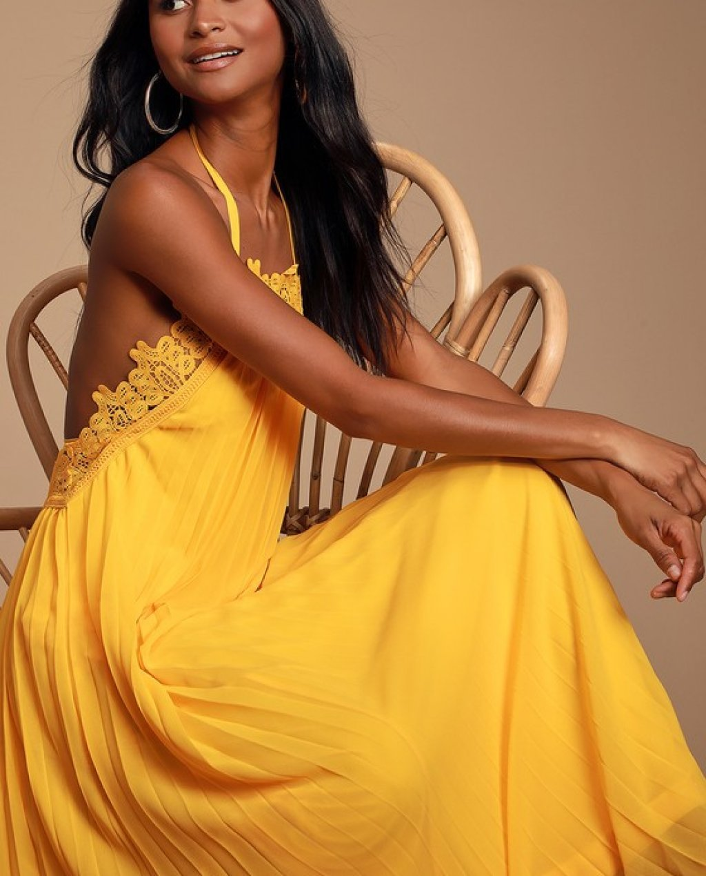 Encinitas Golden Yellow Lace Pleated Halter Maxi Dress