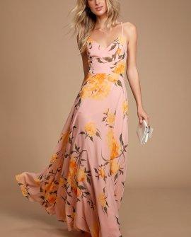Endless Endearment Blush Floral Print Maxi Dress