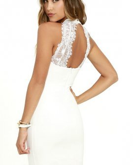 Endlessly Alluring White Lace Bodycon Dress