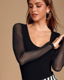 Enid Black Mesh Long Sleeve Bodysuit