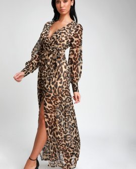 Enthusiasm Brown Leopard Print Long Sleeve Maxi Dress