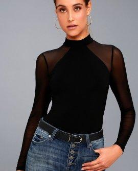 Entrancing Black Mesh Long Sleeve Bodysuit