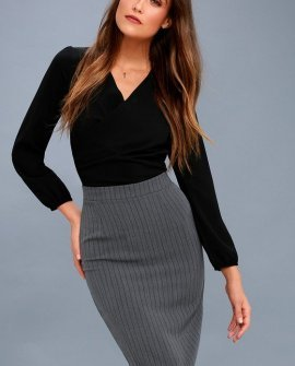 Entrepreneurial Spirit Charcoal Grey Striped Pencil Skirt