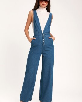 Erin Medium Wash Wide-Leg Jumpsuit