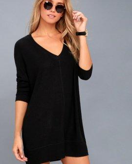 Estes Park Black Long Sleeve Sweater Dress