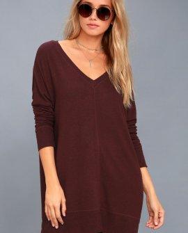 Estes Park Plum Purple Long Sleeve Sweater Dress
