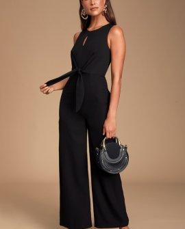 Evelynn Black Tie-Front Wide-Leg Jumpsuit