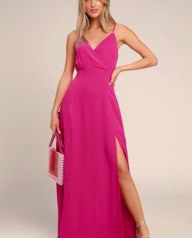 Evening of Splendor Hot Pink Surplice Maxi Dress