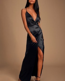 Ever Enchanted Black Satin Surplice Maxi Dress