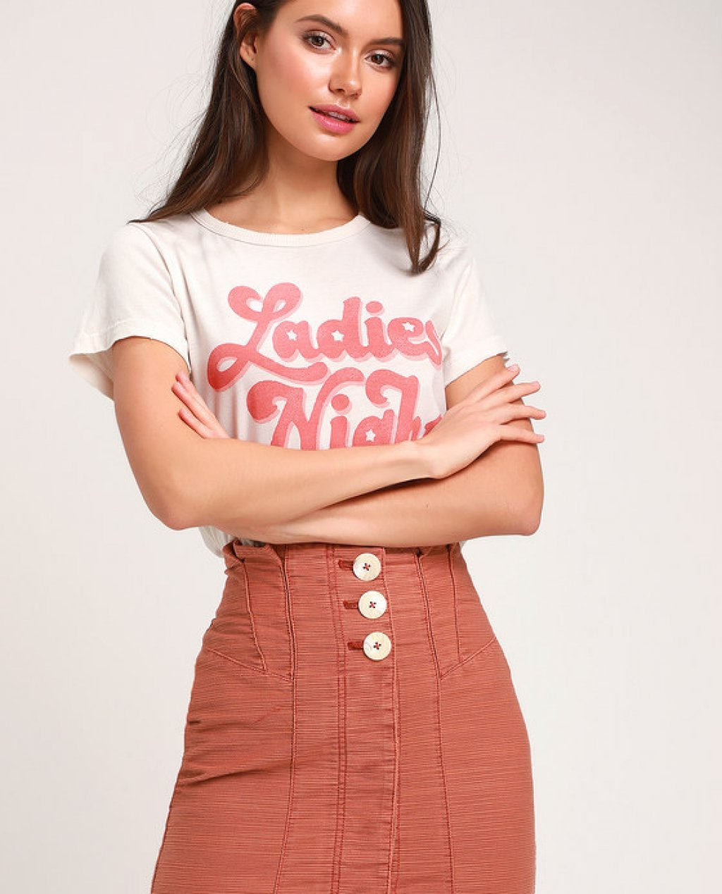 Every Minute Every Hour Terra Cotta Button-Up Mini Skirt