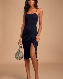 Everything to Me Black Sleeveless Bodycon Midi Dress