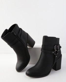 Evilin Black High Heel Ankle Booties