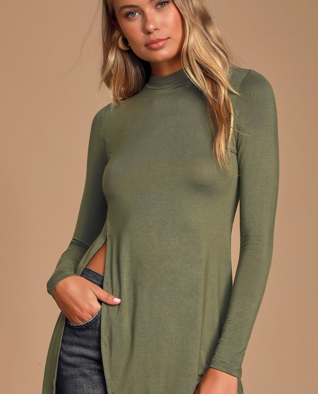 Eyes On Me Olive Green Long Sleeve Tunic Top