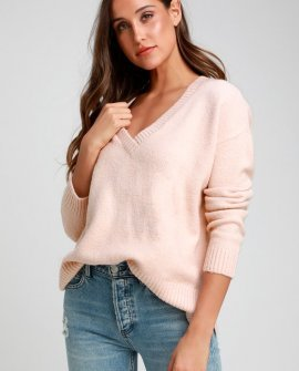 Fair Warming Blush Pink Oversized V-Neck Sweater