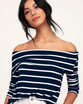 Fairhaven Navy Blue and White Striped Off-the-Shoulder Top