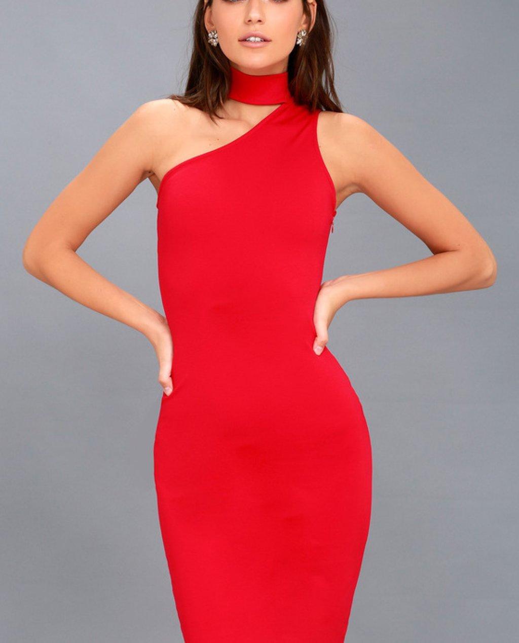 Fan of the Glam Red One-Shoulder Bodycon Midi Dress