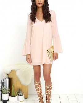Far Wanderings Peach Long Sleeve Shift Dress